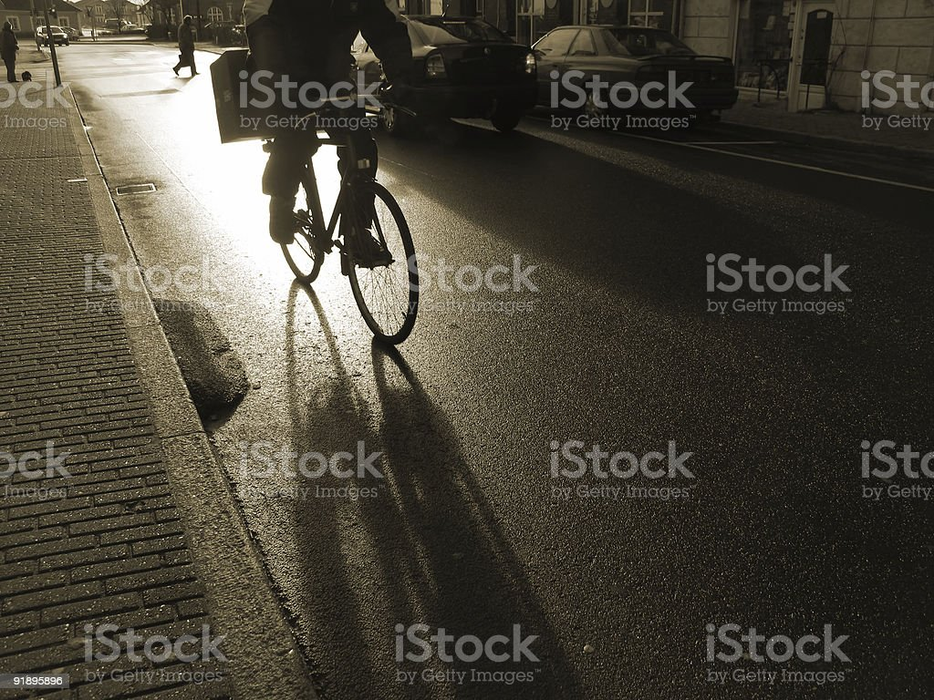 Early morning cyclist royalty-free stock photo