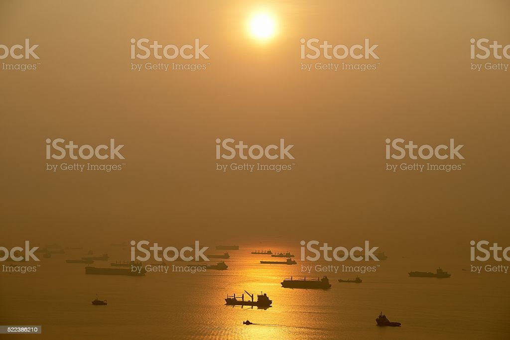 early morning docking traffic in Singapore stock photo