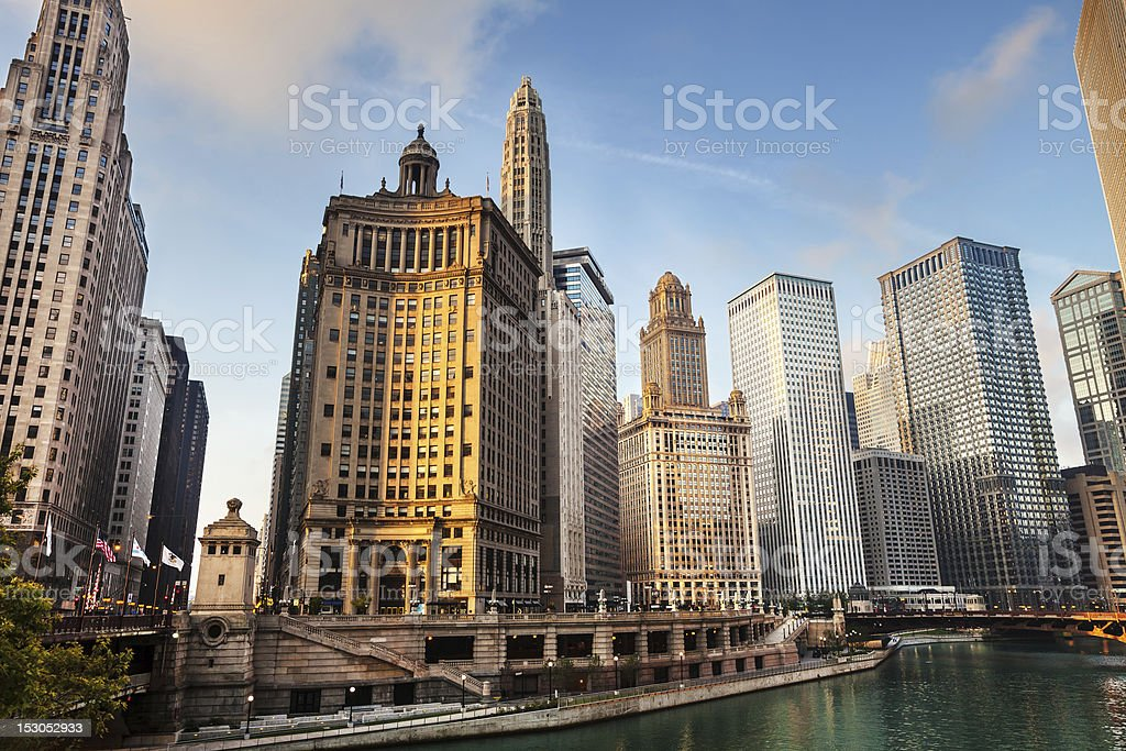 Early morning, Downtown Chicago stock photo