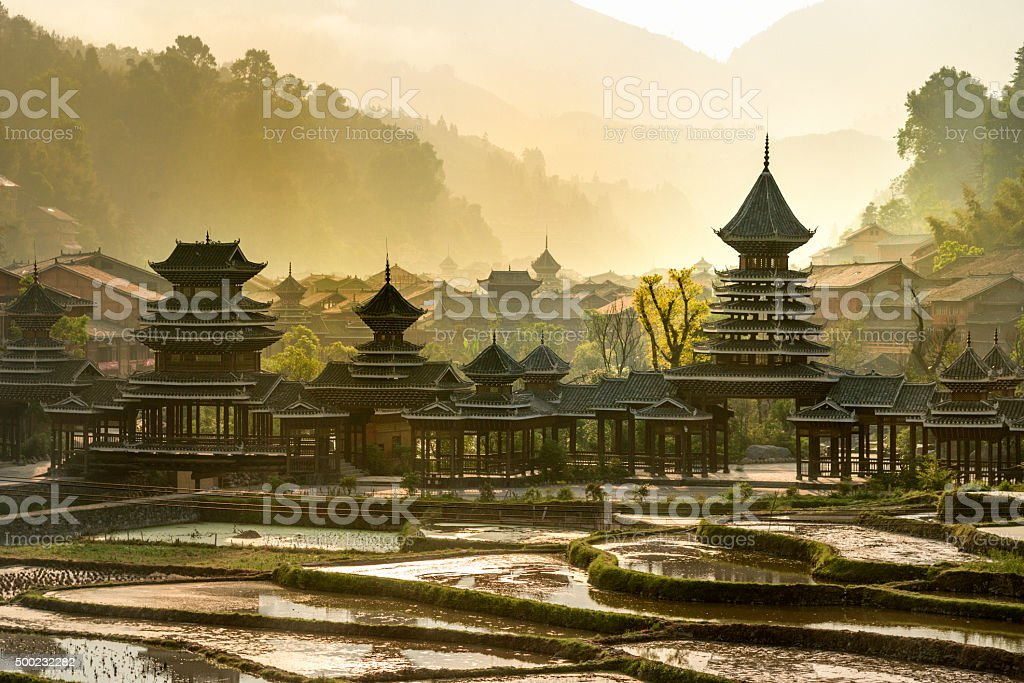 Early morning, Entrance  village Zhao Xing, rain and wind bridge. stock photo