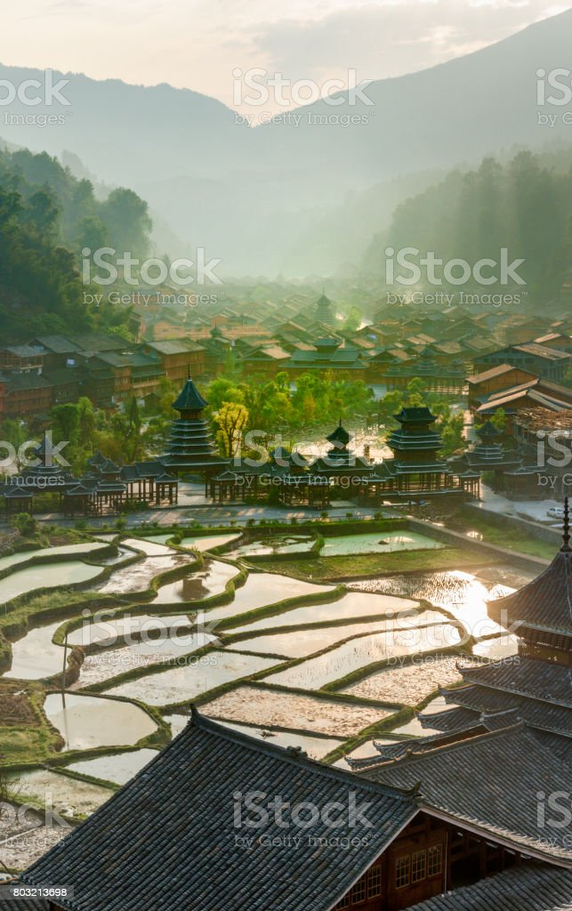 Early morning , Entrance village Zhao Xing, rain and wind bridge. This image is GPS tagged stock photo