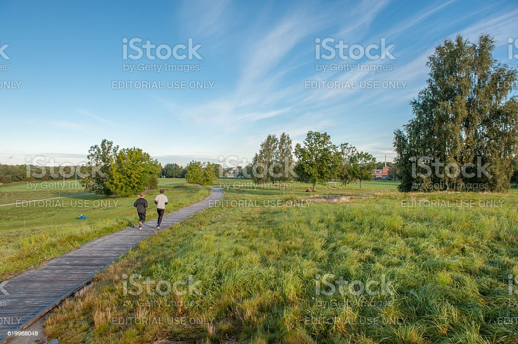 Early morning exercise during autumn stock photo
