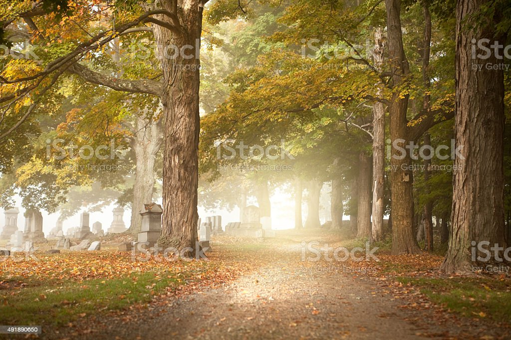 Early Morning Fall Cemetery stock photo