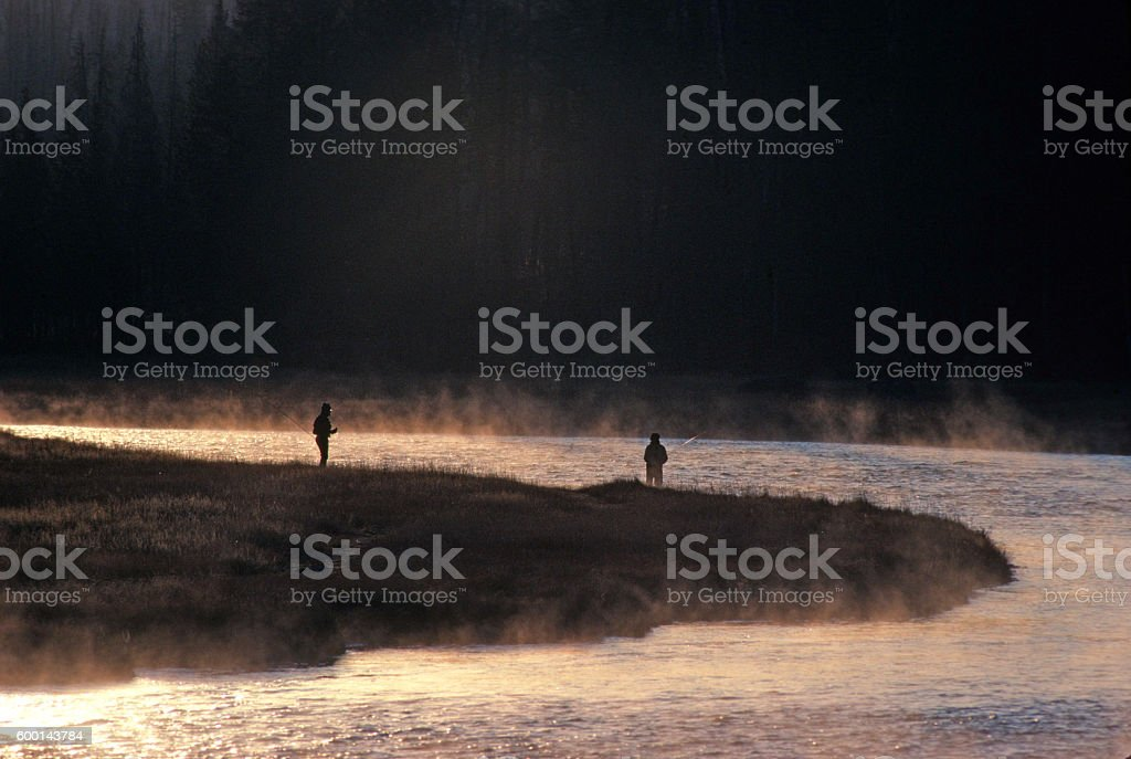 Early Morning Fishing on the Madison River in Wyoming stock photo