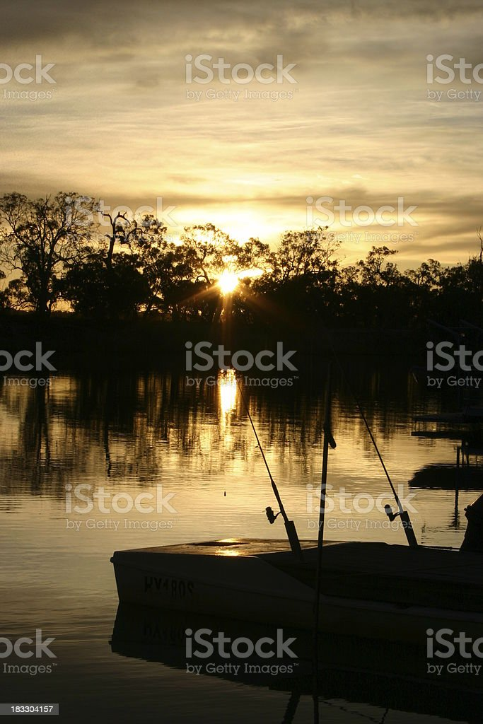 early morning fishing on the Murray stock photo