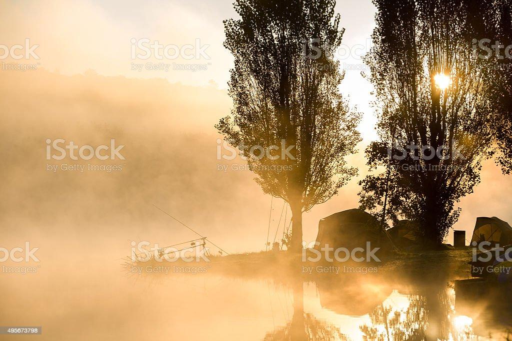 Early morning fishing stock photo