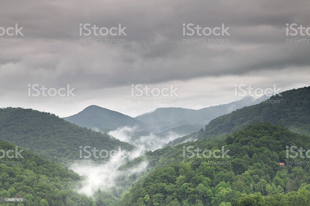 Early morning fog and cloud mountain valley landscape royalty-free stock photo