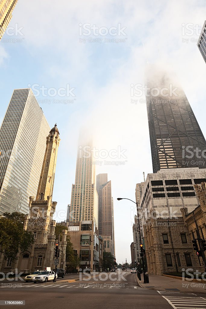 Early Morning Fog downtown Chicago royalty-free stock photo