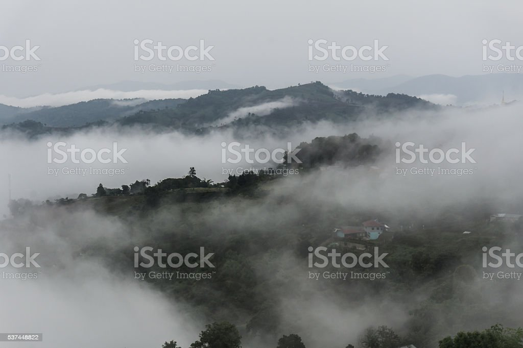 Early Morning Fog in the Mountains. Asian Scene. stock photo