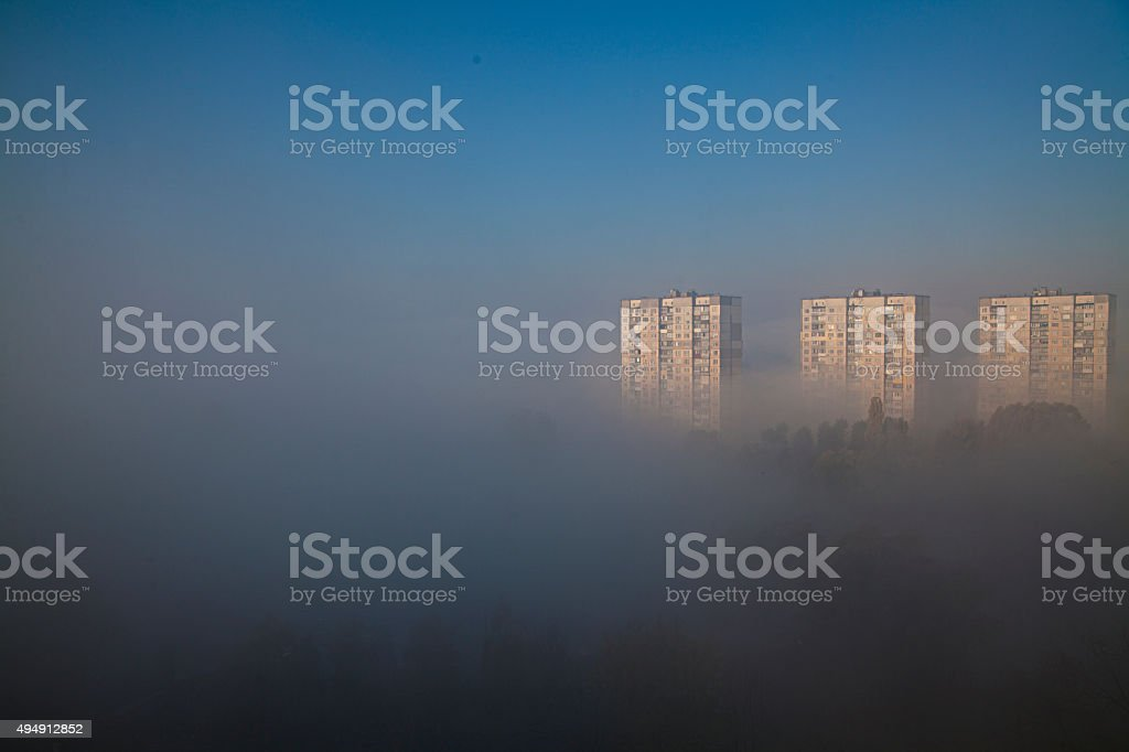 Early morning fog is covering Kiew royalty-free stock photo