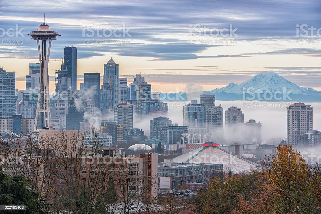 Early Morning Fog Seattle stock photo