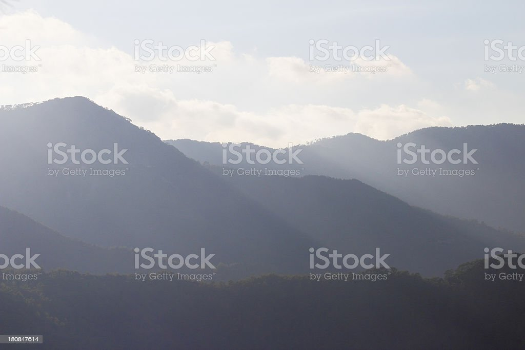 early morning foggy sunrise Troodos cypriate mountains  Cyprus stock photo