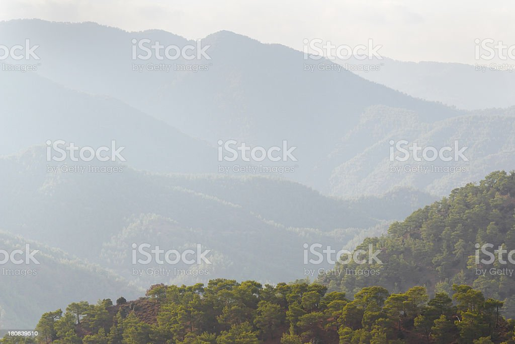 early morning foggy Troodos cypriate mountains  Cyprus stock photo