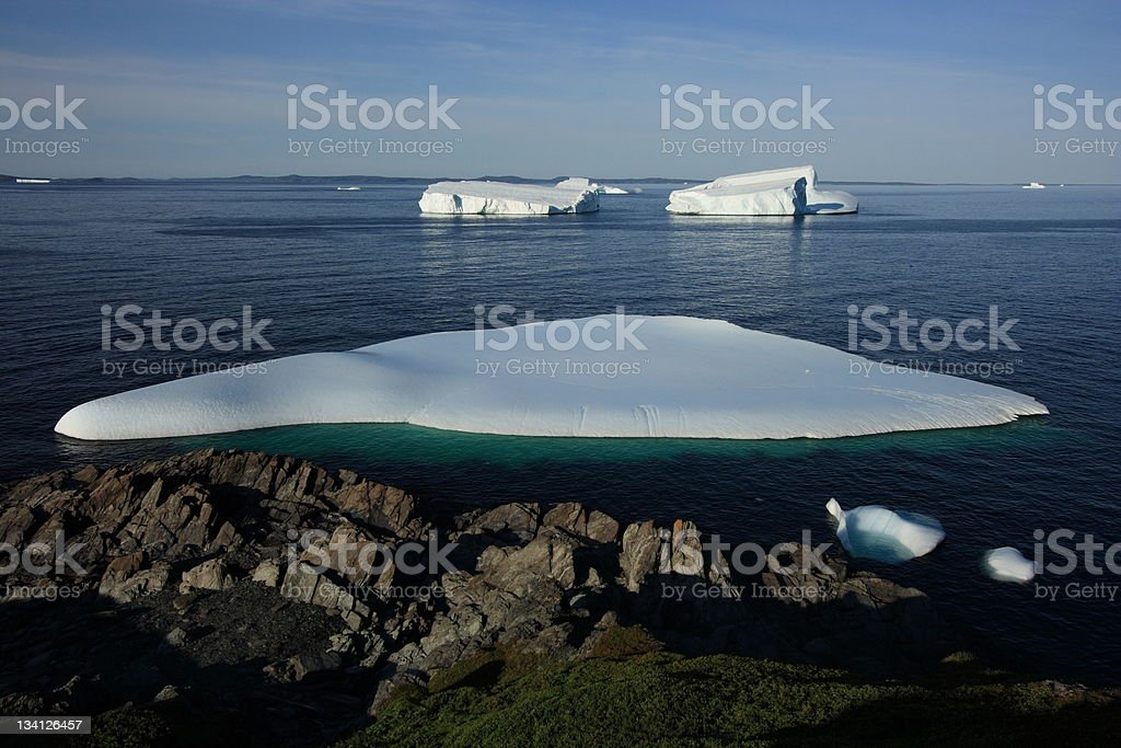 Early Morning Icebergs in Goose Cove stock photo