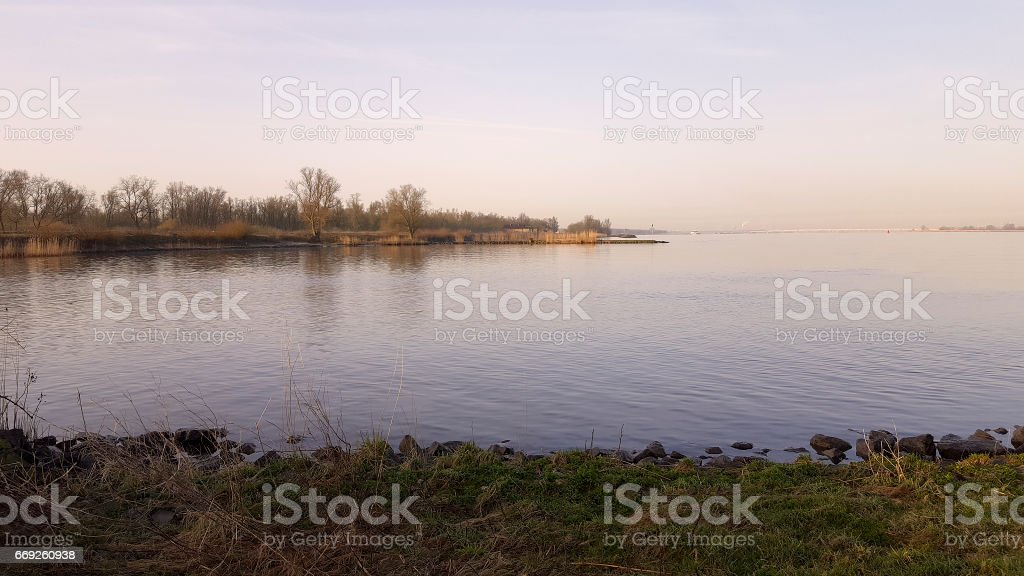 Early morning in Dutch Biesbosch National Park: river Nieuwe Merwede stock photo
