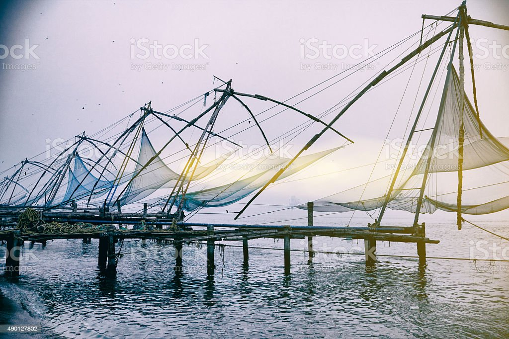 Early morning in Kerala Fishing Village stock photo