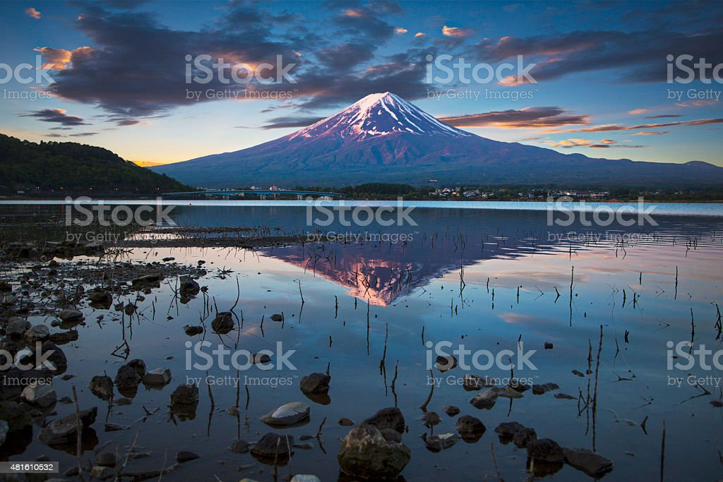 Early morning in Mount Fuji stock photo