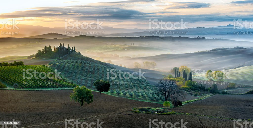 Early morning in San Quirico d´Orcia, Tuscany stock photo