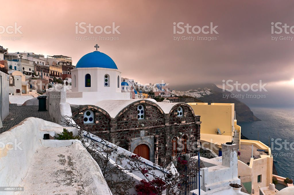 Early morning in Santorini stock photo