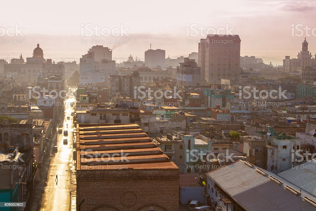 Early morning in streets of Havana, Cuba stock photo