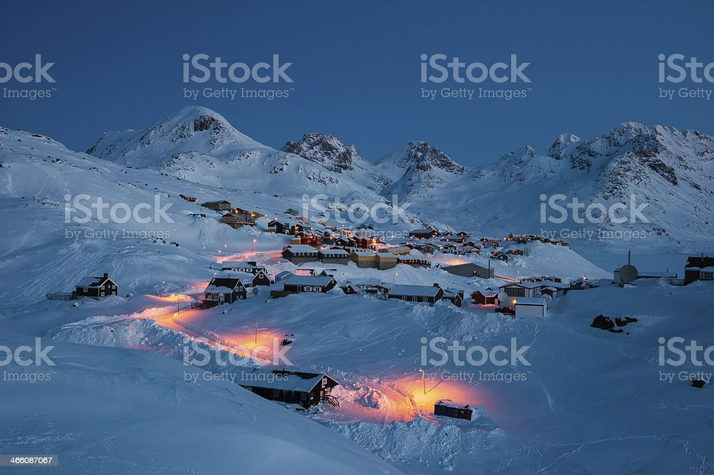 Early morning in Tasiilaq, East Greenland stock photo
