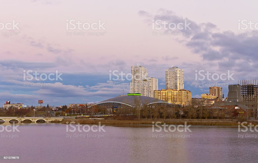 Early morning in the centre of the city of Chelyabinsk.Russia stock photo