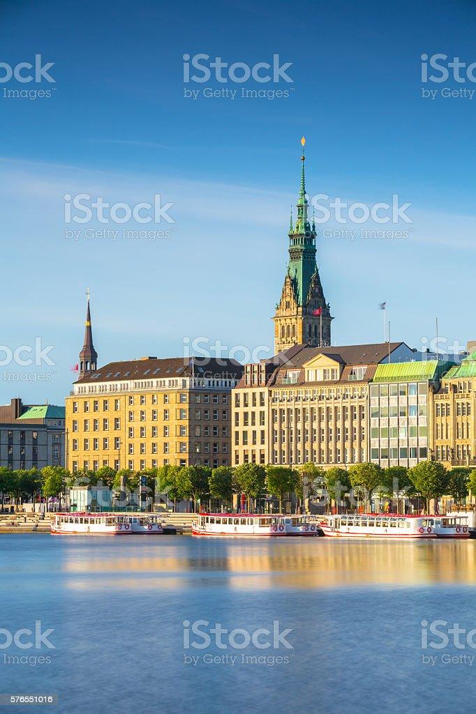 Early morning in the city of Hamburg stock photo