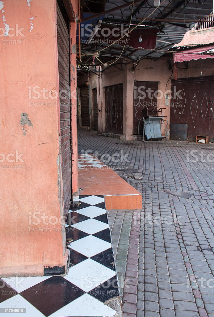Early morning in the empty souk, Marrakesh, Morocco stock photo