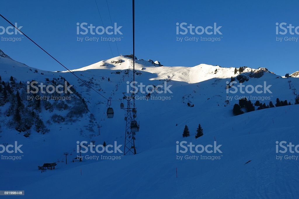 Early morning in the Flumserberg ski area stock photo