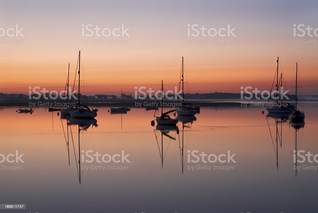 Early morning in the River Deben, Walderingfield, Suffolk stock photo