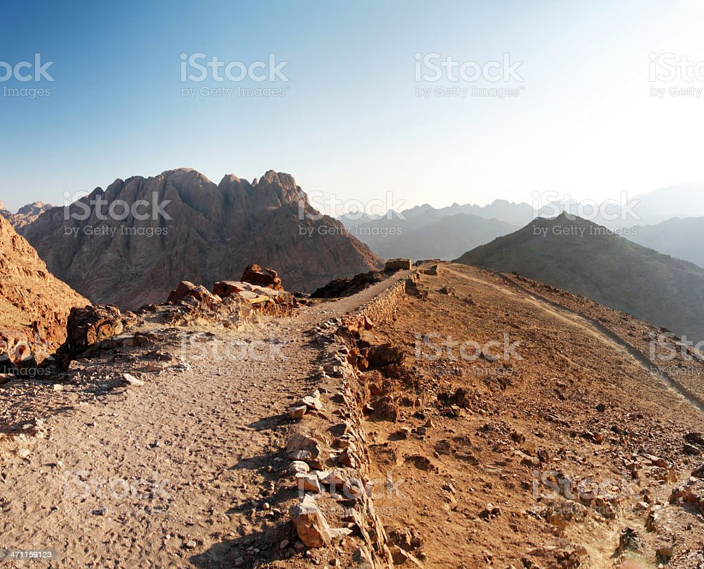 Early morning in the Sinai mountains stock photo