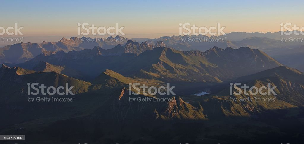 Early morning in the Swiss Alps stock photo