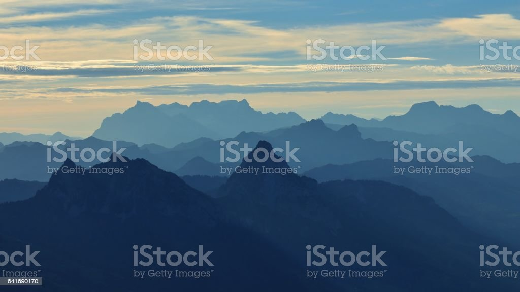 Early morning in the Swiss Alps. View from mount Rigi. stock photo