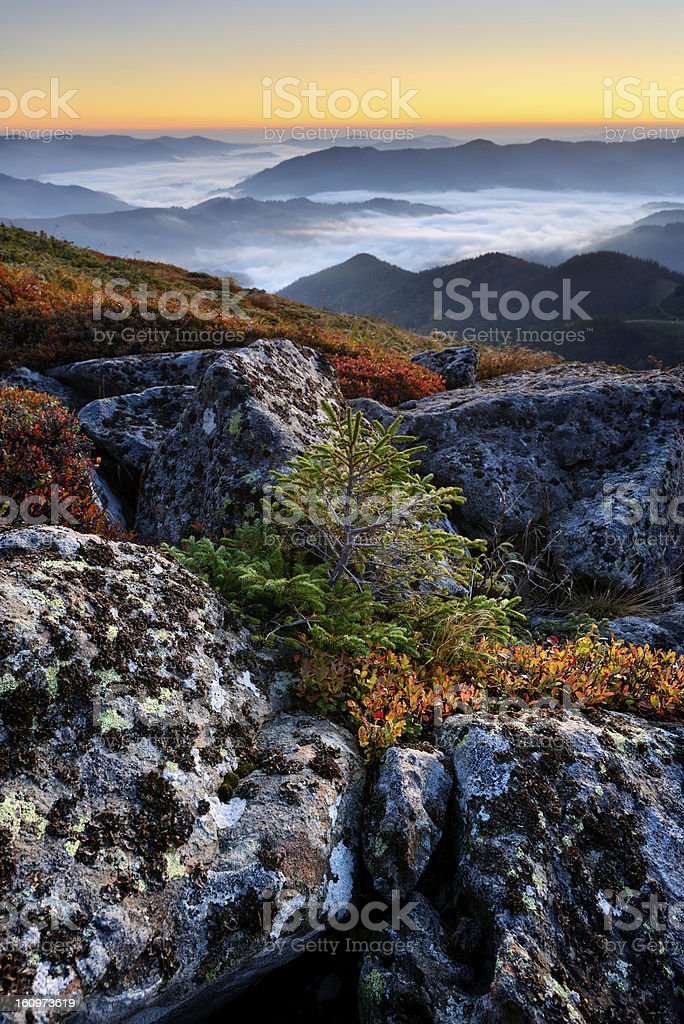 Early morning landscape in mountains royalty-free stock photo