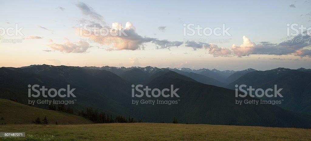 Early Morning Light Olympic Mountains Hurricane Ridge stock photo