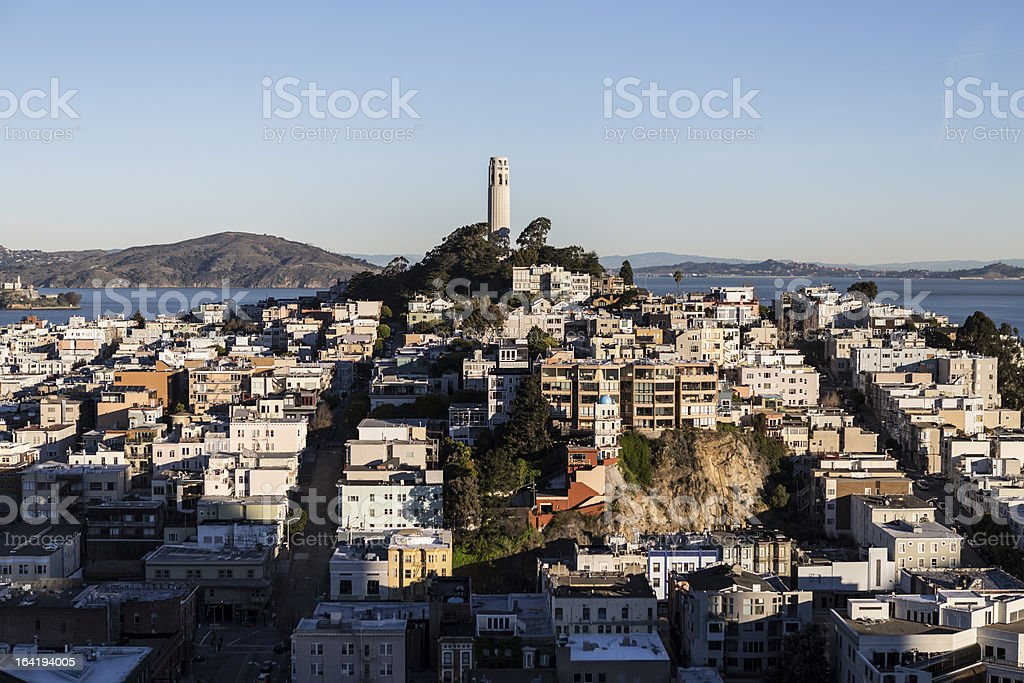 Early Morning Light on Telegraph Hill and Coit Tower stock photo