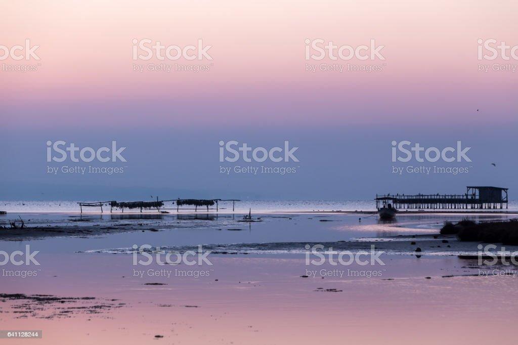 Early morning, magic sunrise over sea stock photo