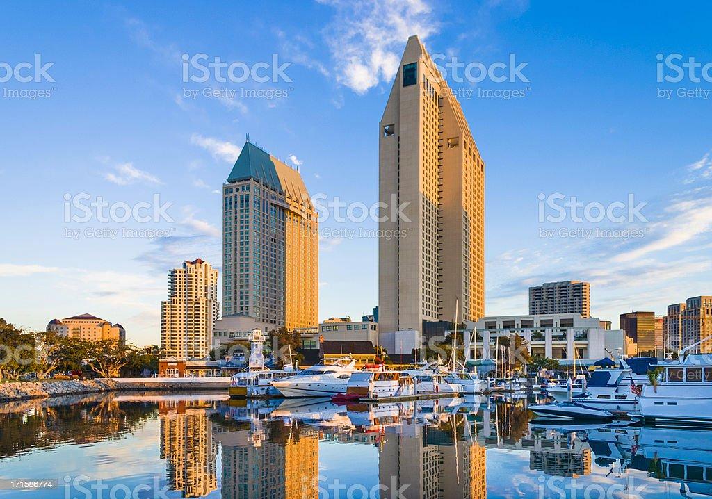 early morning marina and San Diego skyline stock photo