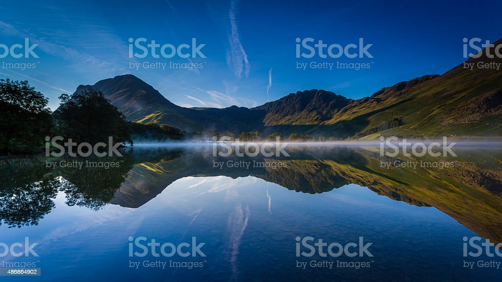 Early morning mist on Buttermere stock photo