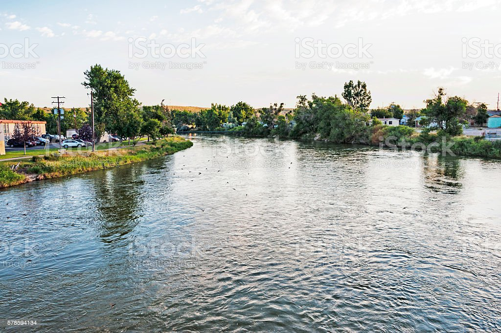 Early Morning North Platte River Casper Wyoming stock photo