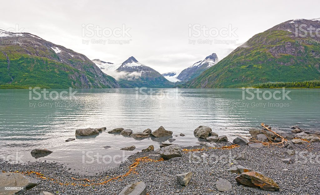 Early Morning on a Glacial Lake stock photo