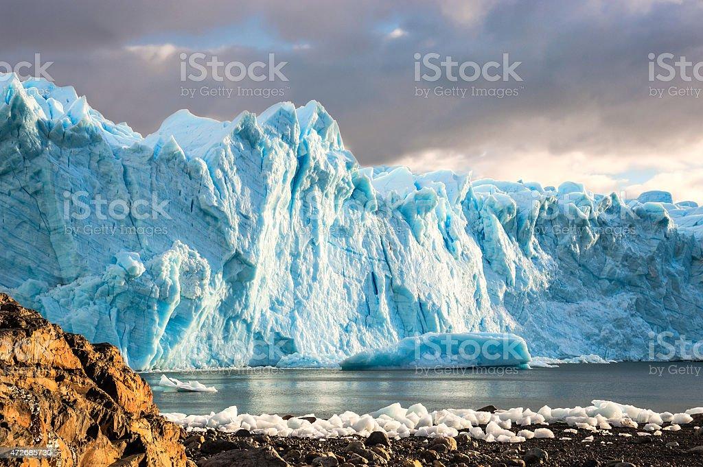 Early morning on the glacier Perito Moreno, Argentina stock photo