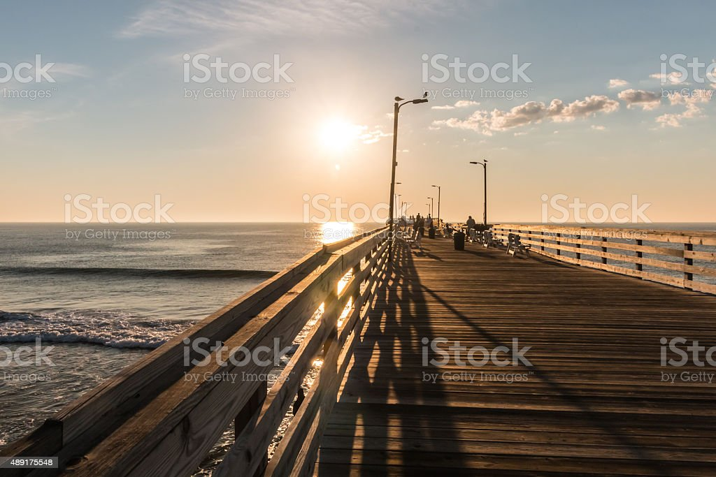 Early Morning on the Virginia Beach Fishing Pier stock photo