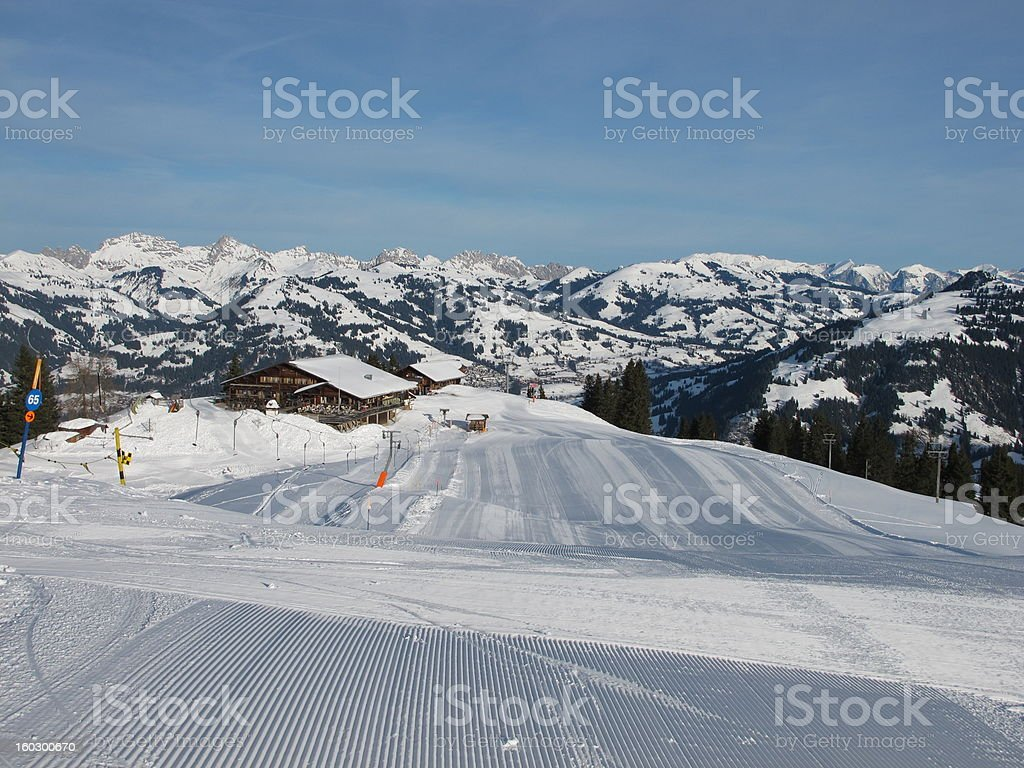 Early Morning On The Wispile, Ski Lift In Gstaad royalty-free stock photo