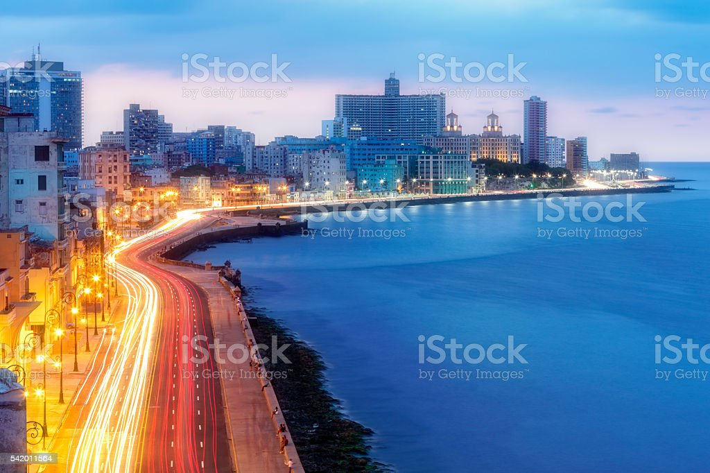 Early Morning Over Malecon, Havana, Cuba stock photo