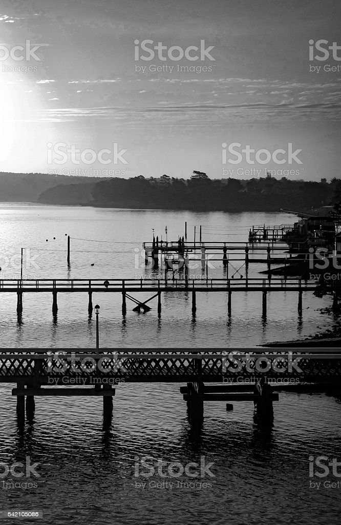 early morning piers stock photo