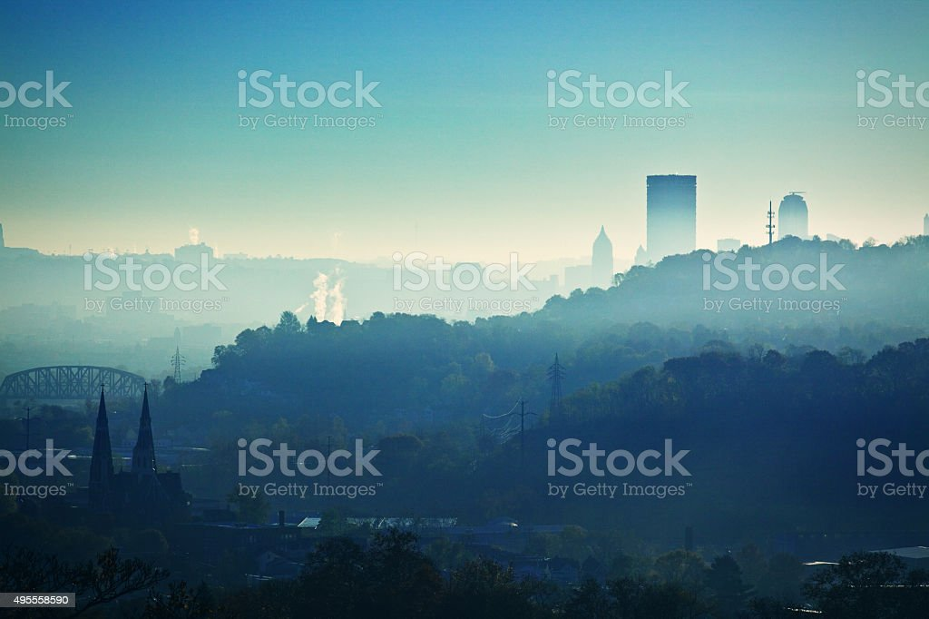 Early Morning Pittsburgh Pennsylvania Hills And City stock photo