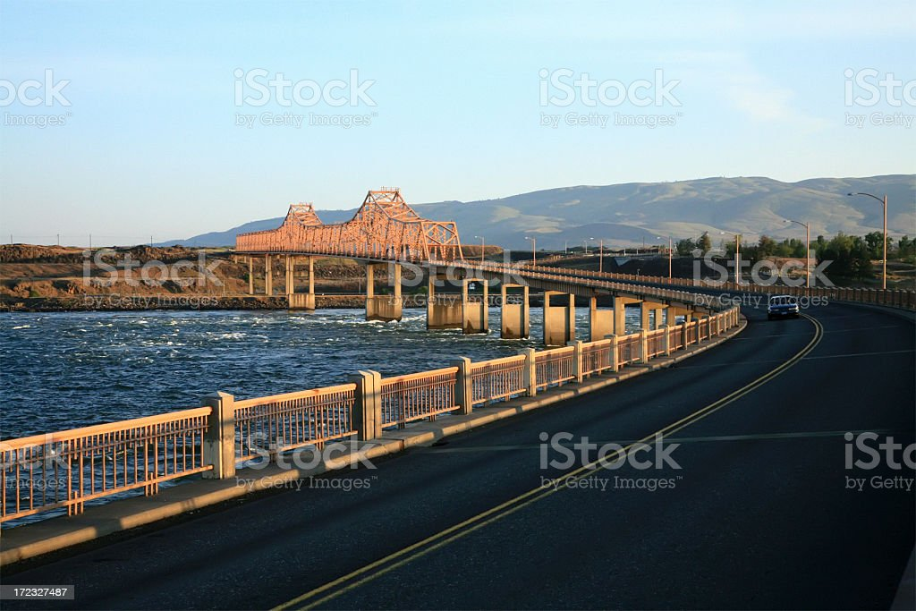 Early Morning River Crossing and Bridge At The Dalles stock photo