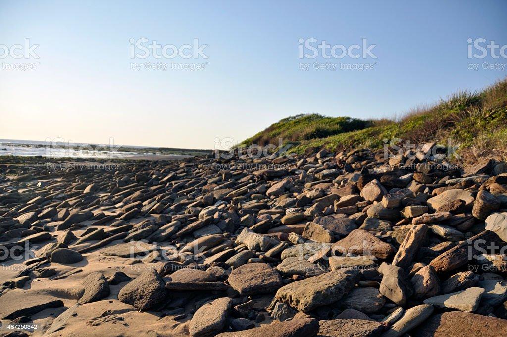 Early Morning Rocky Beach stock photo