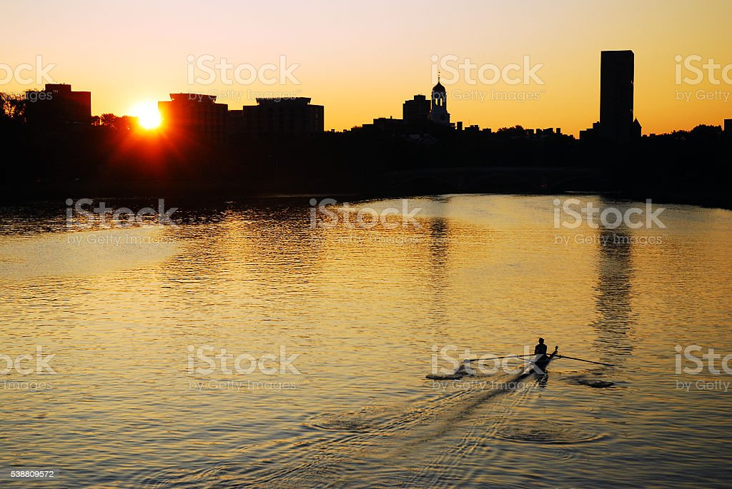 Early Morning Row on the Charles River stock photo